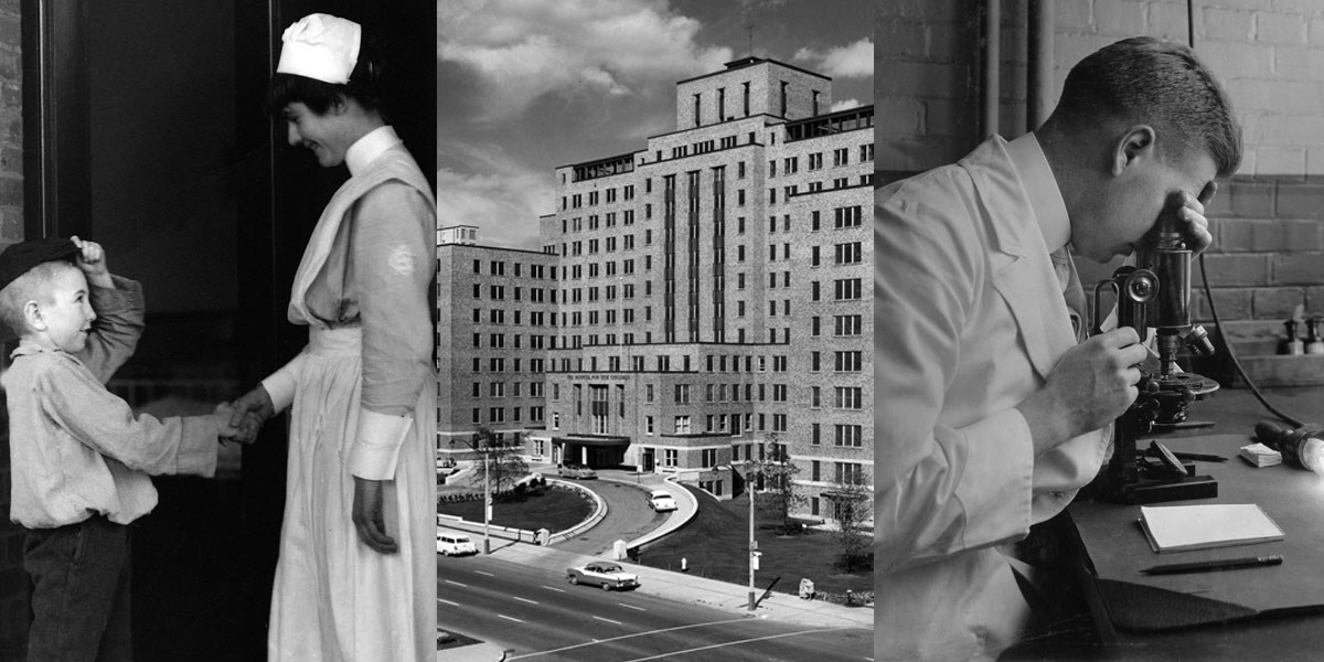 Collage of historical images, including a nurse talking with a young boy, the exterior of the hospital on University Avenue and a scientist looking through a microscope