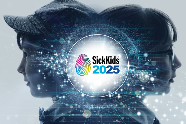 Two kids with the SickKids 2025 Strategic Plan logo